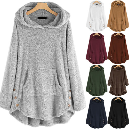 Damen Teddy Fleece Sweatshirt Hoodie Mantel Pullover Jumper Kapuzenpullover Tops