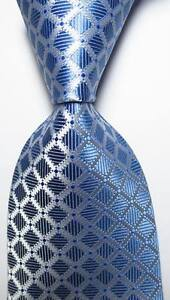 New-Classic-Checks-Light-Blue-White-JACQUARD-WOVEN-100-Silk-Men-039-s-Tie-Necktie