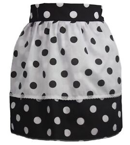 Ladies-1950-039-s-Black-Polka-Dot-Pinafore-With-Reversed-PolkaDot-Apron-One-Size