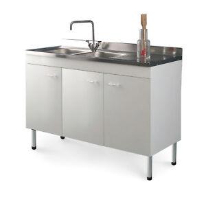 Dettagli su Mobile cucina con lavello acciaio inox 120 x 50 gocciolatoio dx  offerta speciale