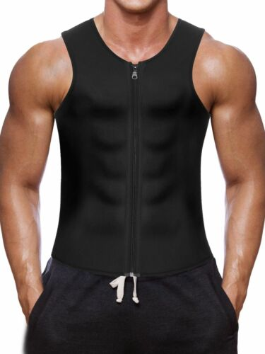 Mens Weight Loss Workout Neoprene Body Shapers Sweat Sauna Suit Sweat Vest Top