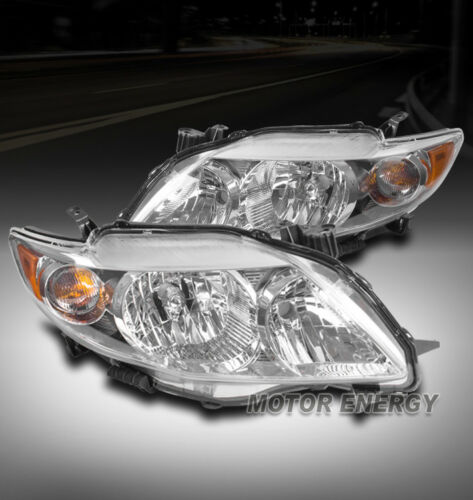 FOR 09-10 TOYOTA COROLLA REPLACEMENT HEADLIGHTS HEADLAMPS LAMP CHROME CLEAR LENS