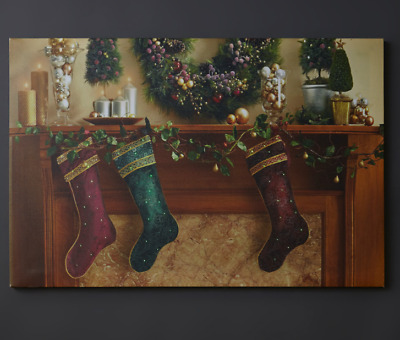 Christmas Led Canvas.Led 3x Hanging Stockings Light Up Canvas Picture Christmas Decoration Home Decor Ebay