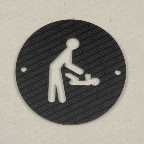 Toilet Changing Room Door//Wall Sign Bathroom Black 100mm Round Washroom