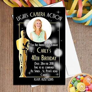 10 personalised oscar awards style birthday party photo invitations