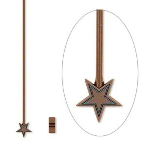 20 Antiqued Copper Plated Pewter 2 Inches Long 21 Gauge 5mm STAR Head Pins