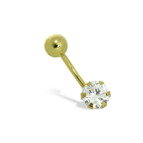 9ct Gold 6mm Round Clear CZ Crystal Ball End Belly Bar Piercing 17Ga Tummy