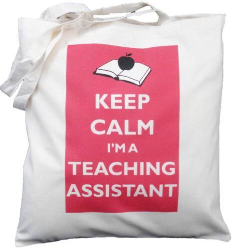 Tote NATURAL COTTON SHOULDER BAG KEEP CALM I/'M A TEACHING ASSISTANT SCHOOL