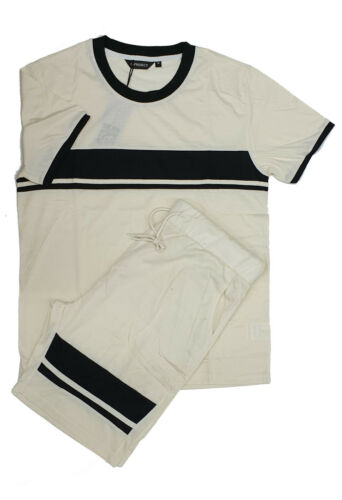 Mens Stripped  Short Sleeve Summer Shorts Set T Shirt Top Sport Gym Tracksuit