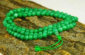 Gruene-Jade-Mala-Edelstein-green-Jade-Halskette-Kette-Armband-Buddha-37d