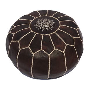 Handmade-Genuine-Leather-Moroccan-Pouf-Footstool-Ottoman-Brown-18-034-height