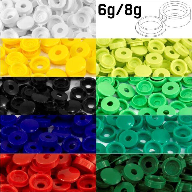 5 x DARK GREEN HINGED PLASTIC SCREW COVER CAPS FIT SIZE 6-8 GAUGE SCREWS