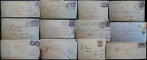 1881-1900-GB-QV-1D-Lilac-Various-London-Postmarks-Oval-Square-duplex-Multi