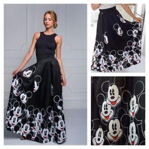 MICKEY MOUSE Disney Maxi Long Black WINTER High Waist Dress SKIRT ...
