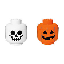 [LEGO] Brick Storage Head Small Bin Container 2pcs (Skeleton/Pumpkin)