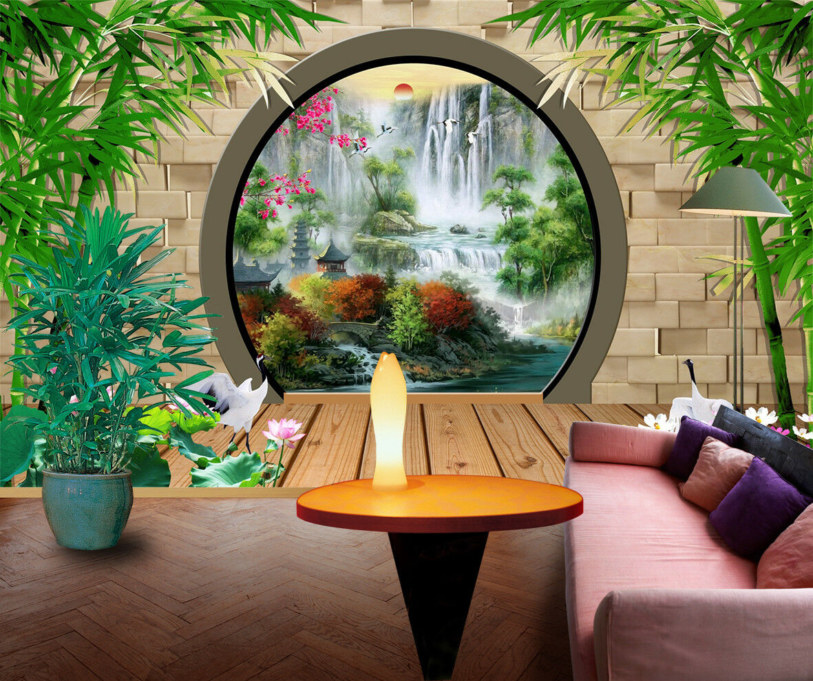 3D Hof Wasserfall Bambus 7893 Tapete Wandgemälde Tapeten Bild Familie DE Jenny