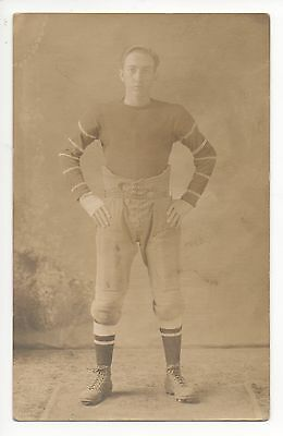 1906 Football Pose Cabinet Type Postcard Standing Pose-great early uniform