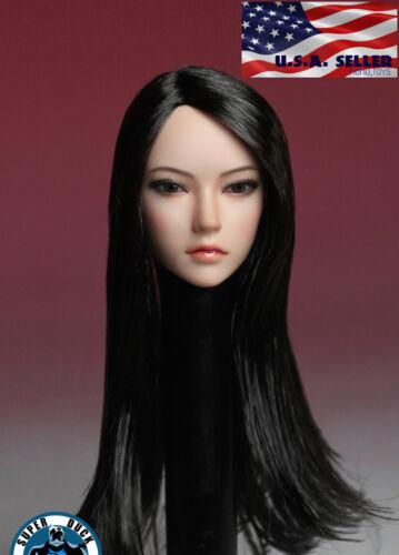 1/6 Female Head sculpt Long Black Hair For 12 TBLeague Phicen PALE Figure USA