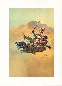 """1977 Full Color Plate /""""Bucking Bronco/"""" by Frank Frazetta Fantastic RODEO Rider"""