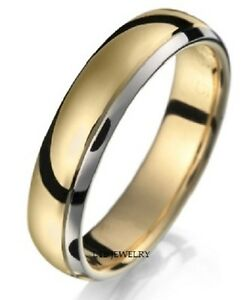 14k two tone gold mens wedding bands rings 5mm unisex shiny finish