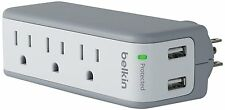 Belkin SurgePlus 3-Outlet Mini Travel Swivel Charger Surge Protector with Dual
