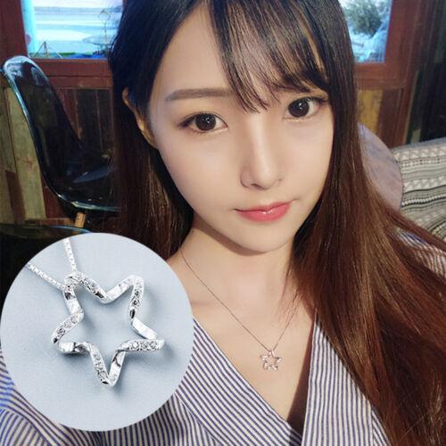 Fashion Femmes Plaqué Argent en Acier Inoxydable étoile collier pendentif Hot