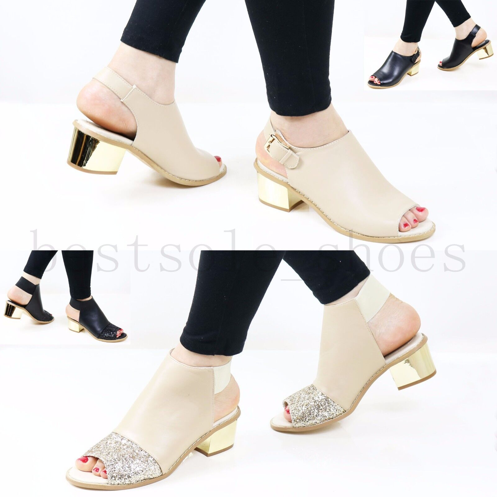 Women Ladies Mid Block Heel Strap Sandals Peep Toe Ankle Strap Heel Comfy Summer Shoes Size 6ba6dc