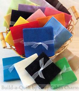 Solid-FLANNEL-Precut-Fabric-Squares-pick-size-quantity-24-colors
