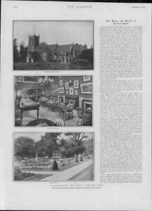 1901-Antique-Print-NORFOLK-Sandringham-King-Church-Flower-Beds-Estate-194