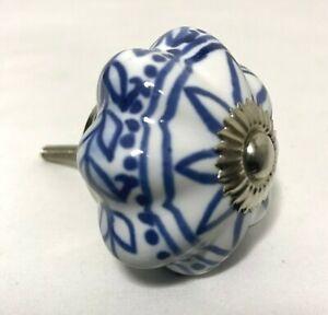 Vintage-Ceramic-Cobalt-Blue-White-Knob-Drawer-Cabinet-Pull-Handles-Silver-Metal