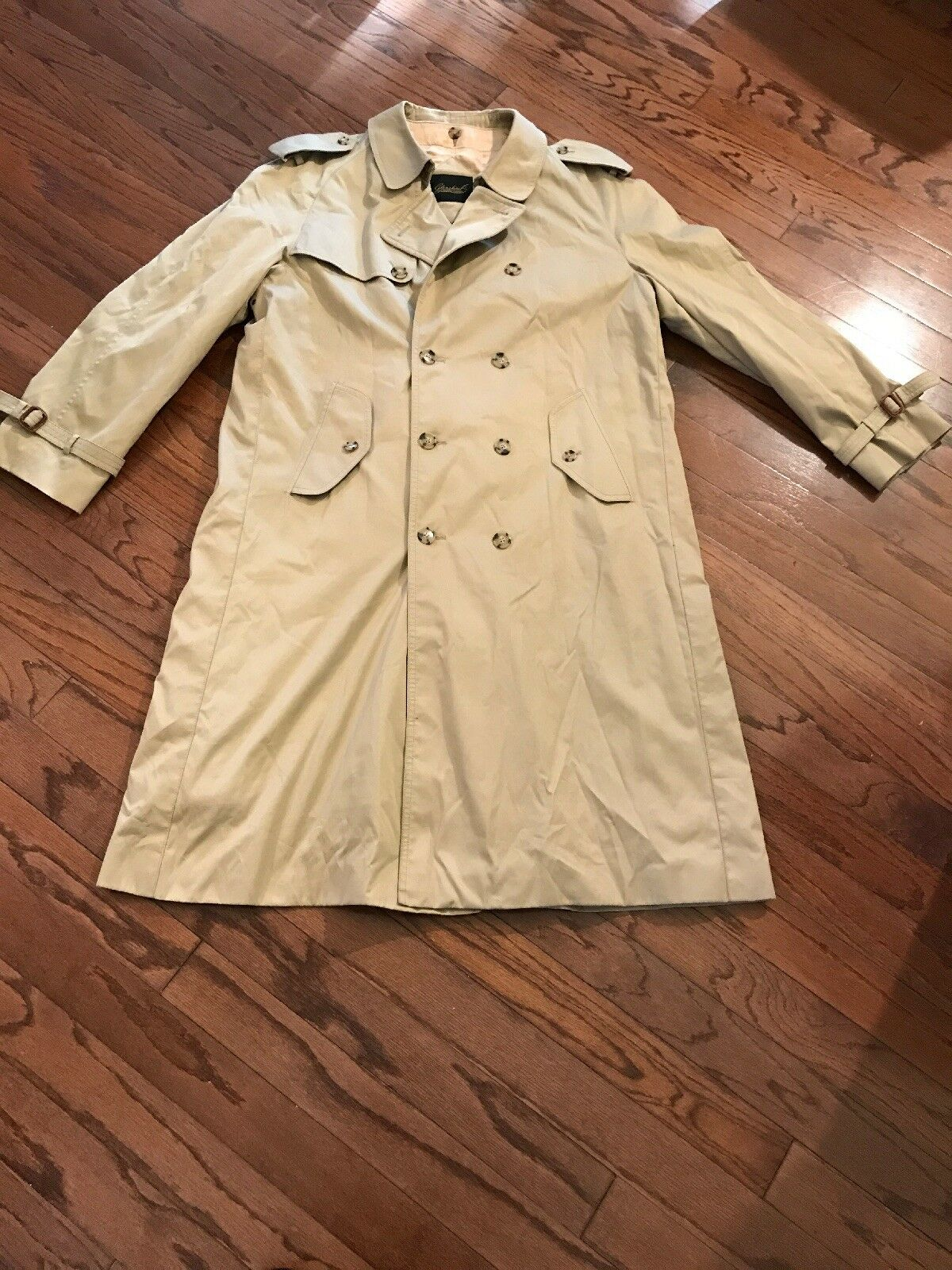 Mens Glenshire Trenchcoat With INNER Plaid Lining WOOL Removable XL 46 khaki