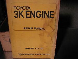 factory toyota 3k engine repair manual includes k and 2k ebay rh m ebay ie Toyota Motor Racing Toyota 4K