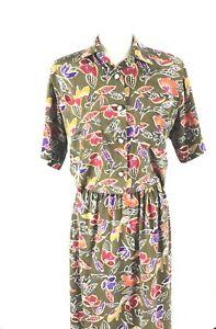 Liz-Claiborne-2-PC-Short-Sleeve-Skirt-Set-Sz-4-Rich-Color-Vintage-EUC-Lagenlook