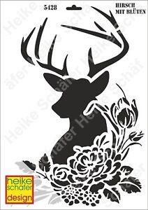 Schablone-Stencil-A3-095-5428-Hirsch-mit-Blueten-Neu-Heike-Schaefer-Design