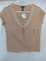 Girl's Limited Too (justice) Xxxl 3xl 16/18 Dark Tan Shirt/top Lace & Beads
