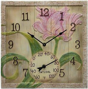 Outdoor Clock with Thermometer Beachwood Flower Design 14 x 14 Garden Patio