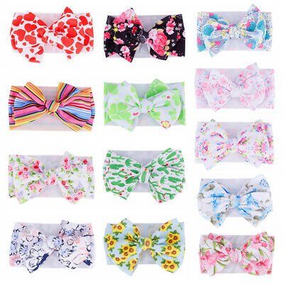 Baby Toddler Girls Kids Boho Print Bow Knot Turban Headband Hair Band Headwrap