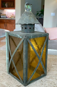 Old-Arts-amp-Crafts-Brass-amp-Amber-Glass-Wall-Mount-Light-Fixture-Lantern-Mission