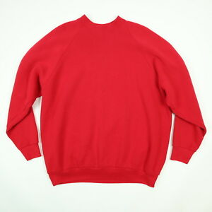 Vtg-90s-Nicely-Faded-Blank-Raglan-Sweatshirt-sz-XL-Grunge-Surf-Skate-Red-Distres