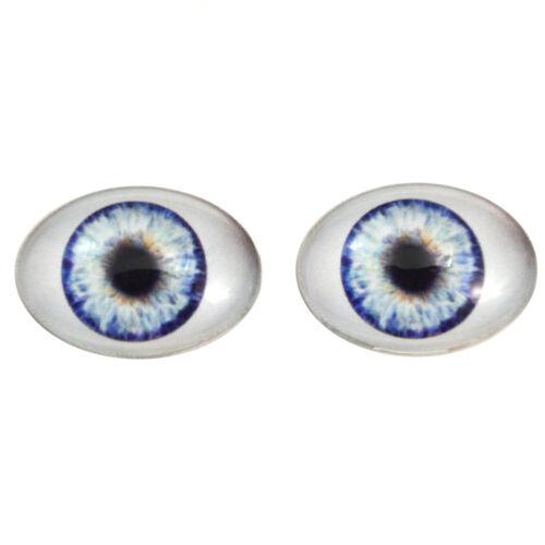 Fantasy Dolls Art Pair with Whites Flatback 18x25mm Blue Doll Oval Glass Eyes