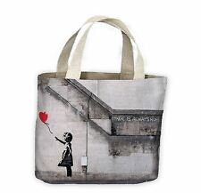 Banksy Girl With Heart Balloon Tote Shopping Bag For Life - Red Balloons