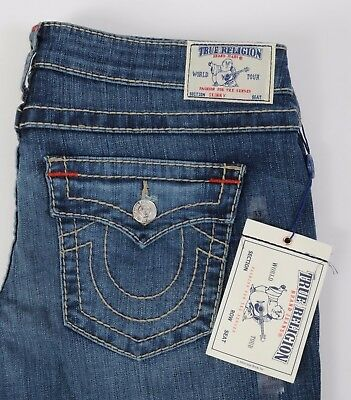 Women's NEW True Religion Jeans Skinny Leg w Flap size 33 Big T Stretch Natural
