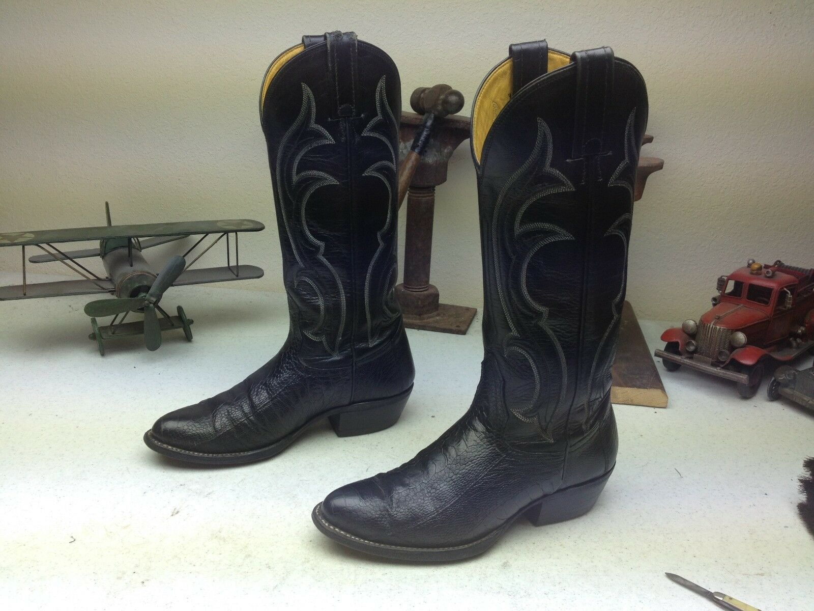 NOCONA BLACK OSTRICH LEATHER WESTERN COWBOY ROCKABILLY DANCE BOOTS SIZE 4 B