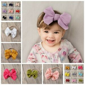 Newborn-Girl-Baby-Nylon-Waffle-Tie-Messy-Mini-Bow-Head-Wrap-Turban-Headband-Hair