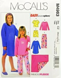 Girls-Pajama-PJs-Top-Pants-Night-Shirt-Blanket-Pattern-M4963-M-L-XL-McCalls