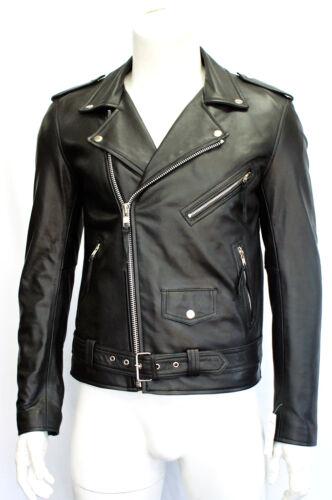 Hommes Gents Noir Coupe Slim Brando Style Véritable cuir d/'agneau napa cuir véritable Veste