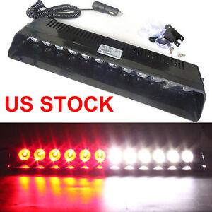 Details about 12 LED Emergency Warning Flashing Strobe Light Beacon Dash  Visor Lamps RED WHITE