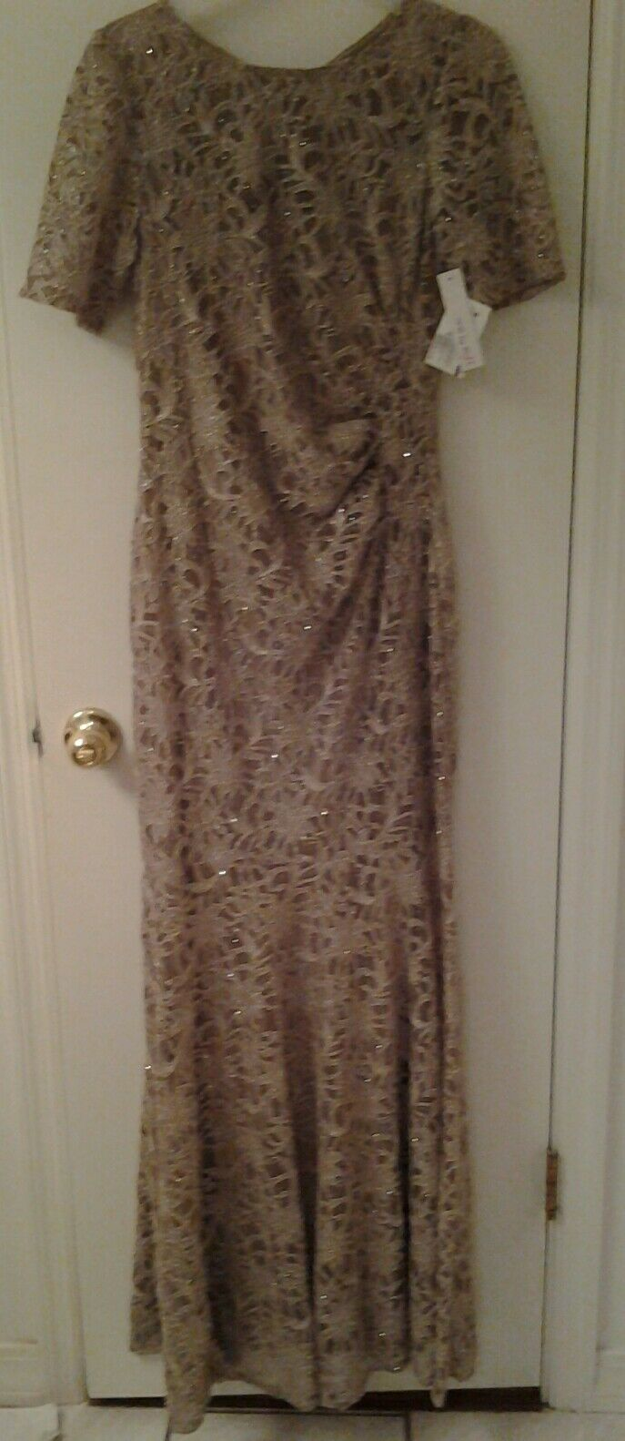 One by Eight formal long dress gold size10 NWT
