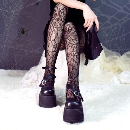 Dark Harajuku Lolita Spider Web Fishnet Punk Tights//Pantyhose Halloween 10-14 UK