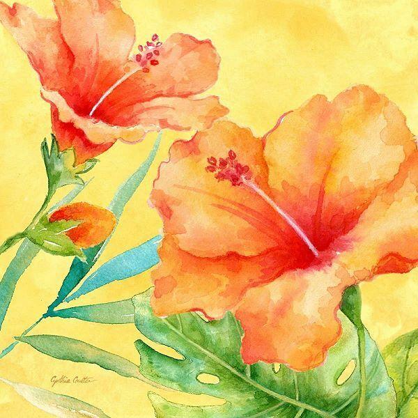 Cynthia Coulter  Tropical Paradise II Keilrahmen-Bild Leinwand Blaume bunt Tropen